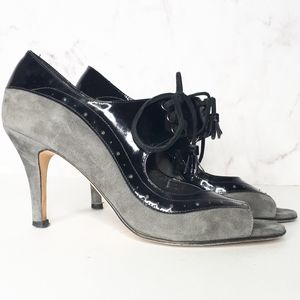 Vaneli Grey Suede Black Patent Laced Mary Jane 7.5